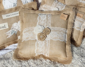 Sale Burlap and Lace Decorative Throw Pillow, Toss pillow, Rustic Romance, pillow with burlap flowers, lace and pearls, home accents,  eJ4