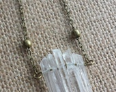 Crystal point row necklace mini quartz crystal pendant necklace