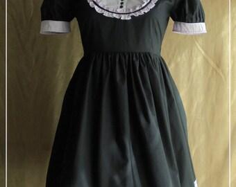"Black and violet lolita dress with plastron ""Bitter & Sweet"" lolita dress, costume"
