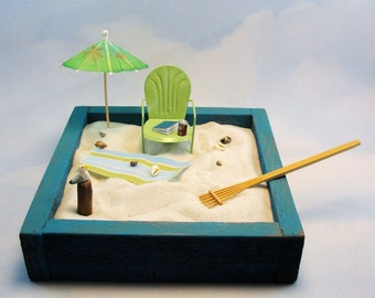 miniature zen beach garden kit miniature shell back chair beach towel beverage shells