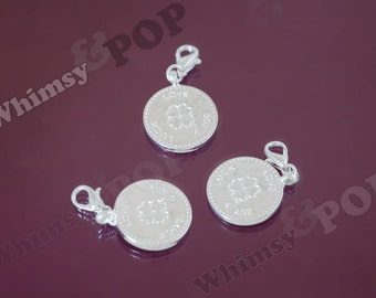 1 - SALE Silver Plated Lucky Charm Clover Charm, Lucky Charm, Clover Charm, 4 Leaf Clover Charm, 17mm (R9-053)