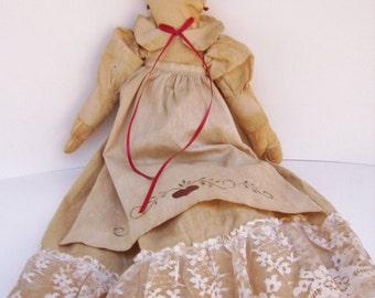 Vintage Tea Dyed Cloth Doll