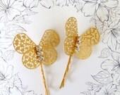Art Nouveau Hair Pin, Ornate Butterflies, Butterfly Hair Pin, Brass Hair Clip, Gold Butterfly, Butterfly Hair Pin, Fresh Water Pearl HARMONY