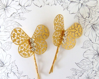 Gold Butterfly Hair Pins, Butterfly Hair Clips, Wedding Hair Pins, Gold Butterfly, Fresh Water Pearl Hair Pin, Butterfly Bobby Pins HARMONY