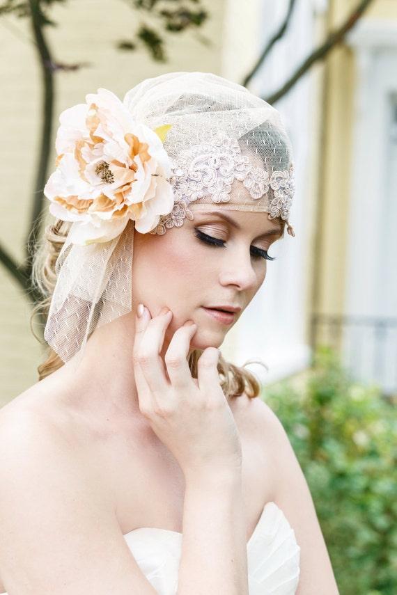 Juliet Cap, Juliet Veil, Bridal Cap, Bridal Veil, Champagne, White, Ivory Bridal Cap, Polka Dot Juliet Cap, Point d'Esprit CORALINE