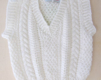 Hand Knit Baby Vest in Bright White Acrylic