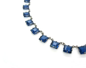 Art Deco Sapphire Necklace. Princess Cut Crystals, Open Backs. Blue Glass & Sterling Silver Choker Necklace. Vintage 1920s Art Deco Jewelry