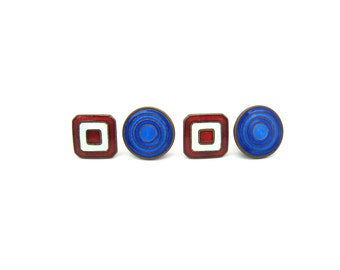 Art Deco Cuff Links. Mens Enamel Cufflinks. 2 Sided. Red & White Square, Blue Concentric Circles. Snap, The Pioneer. 1920s Vintage Accessory