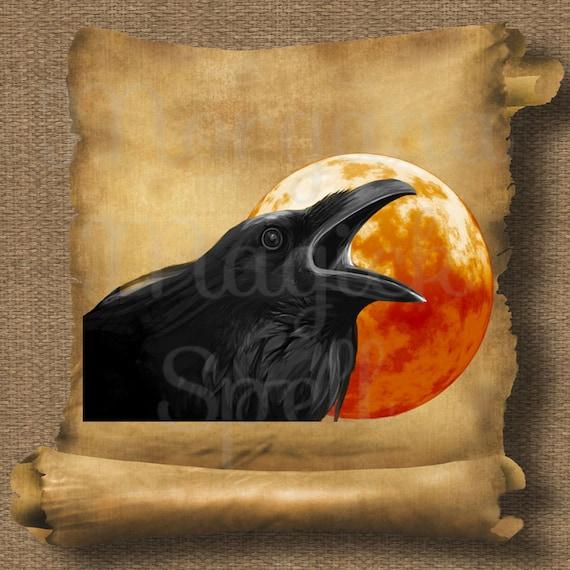Raven Moon  Royalty Free Clip Art