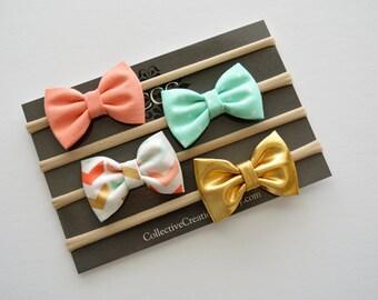 Baby Headbands - Newborn Small Bow Headband Set - Baby Shower Gift - Gold Arrow Print Coral Mint Dot Bows Nylon Bands -Mini Bow Headbands