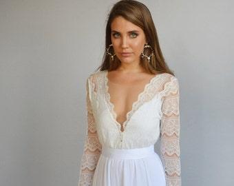 Lace wedding dress, long sleeves wedding dress, deep V neck line ,train  chiffon wedding dress
