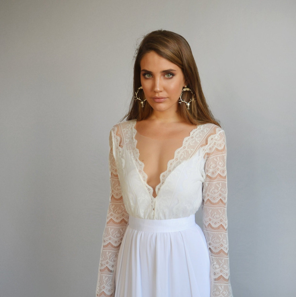 Lace wedding dress long sleeves wedding dress deep V neck
