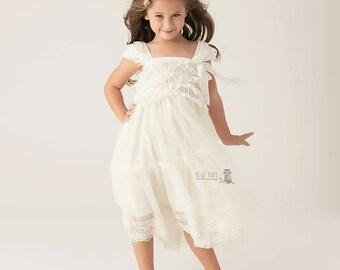 lace flower girl dress -girls ivory dress -rustic dress-  baby ivory dress -Baptism dress - babydoll dress- tutu dress - flower girl dresses