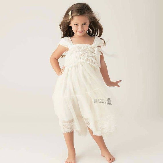 lace flower girl dress girls ivory dress rustic by PoshPeanutKids