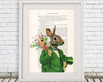 Rabbit Wall art print wall decor wall hanging Drawing Illustration Giclee Prints Posters Mixed Media Art Acrylic Painting, Rabbit image