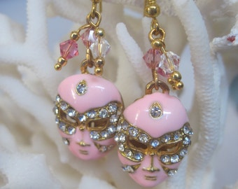 Theater and Mardi Gras Precious Pink n Gold with Faceted Crystals Mask Earrings