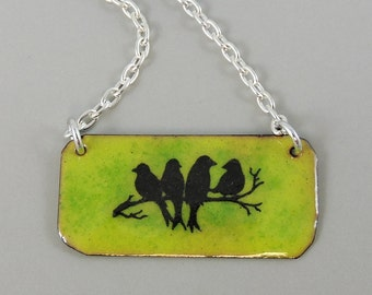 Birds on Branch Enameled Copper Necklace, Copper Necklace, Metalwork Jewelry, Bird Necklace, Nature Jewelry