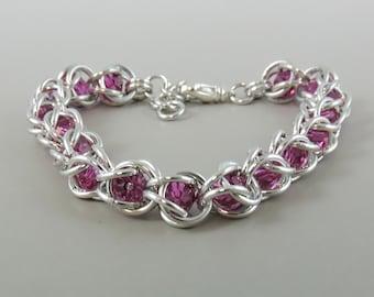 Fuchsia Swarovski Chainmail Bracelet Chainmaille Swarovski Crystal Passions, Captured Chain Mail Bracelet, fuchsia Bracelet