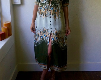 Vintage Psychedelic Feather Maxi XS S M Gypsy Duster Native Bohemian Hippie Gypsy Boho Green Mod 70s 80s Ethnic Tribal Folk Festival Dress