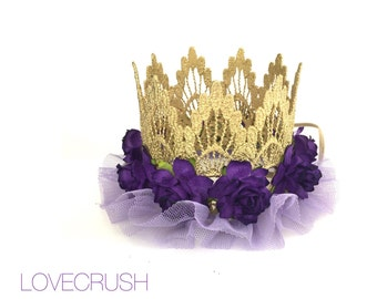 ORIGINAL ballerina flower lace crown headband ||Easter Spring Birthday|| Purple || Gold or Silver|| any age