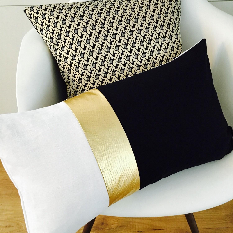 Metallic Home Decor Black And White Modern Pillow Cover 14x24 Lumbar Cushion Color