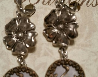 VICTORIAN BUTTON Earring BIRDS MirrorBacks 1800s Sterling Silver Plated Leverbacks