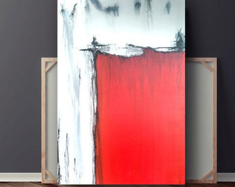 Red, Abstract Painting, Painting on Canvas, Red Black & White Acrylic Painting, Original Painting, Large Canvas Art, 36x24 by Heather Day