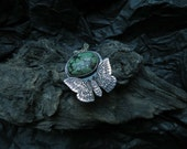 Moth Necklace - Silver Turquoise Necklace - Silver Moth Necklace - Emperor Moth Pendant