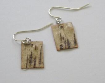 Birch Bark Small Rectangle OOAK Earrings