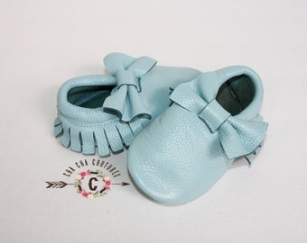 wow!  SKY BLUE BOWS Moccasins 100% genuine leather baby moccasins Mocs moccs