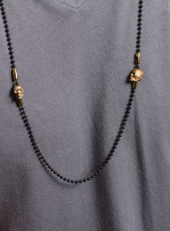 Jewelry for men - till death do us part - Skull jewelry -Skull necklace - chain necklace with gold skulls - Jewelry for Men and Women