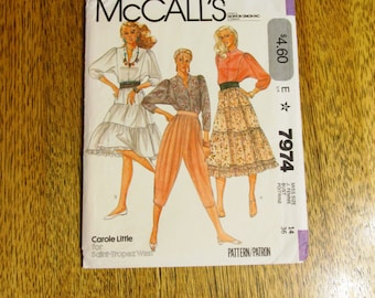 """Vintage 1980's BOHO Gypsy Full Tiered Skirt & High Waisted Knickers - Size 14 (Bust 36"""") - UNCUT Vintage Sewing Pattern McCalls 7974"""