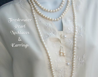 "FRESHWATER PEARL NECKLACES 16""-36"" Pearl Earrings Chic Classic Corporate Elegant Fashion Beach White Wedding Bridal Gift Box Water Blessings"