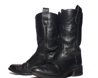 8.5 D | Men's TEXAS Brand Black Leather Moto Western Boots