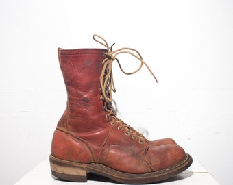 9 C | Vintage Linesmans Boots Hall Safety Boots Cork Soles Oro Russet Leather