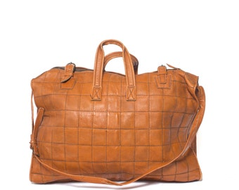 1970's Large Travel Overnight Bag Brown Leather Patchwork Duffle