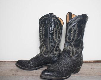 11 D | Tony Lama Bullhide Black Western Cowboy Boots
