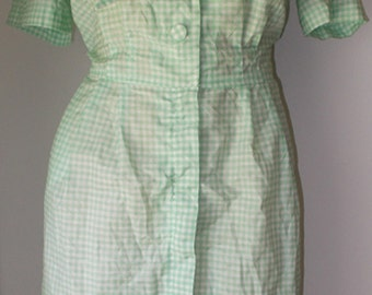 Green and White Plaid Cotton Day Dress Secretary Tie at Neck Button Zip Front