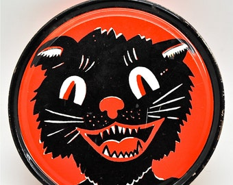 Vintage Halloween Noisemaker Black Cat Collectible Kirchhof USA Lithograph Tin Toy Halloween Party Free Shipping!
