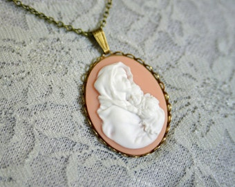 Large Cameo Necklace - Brass Cameo Necklace  - You Pick - Madonna & Child or Our Lady of Guadalupe
