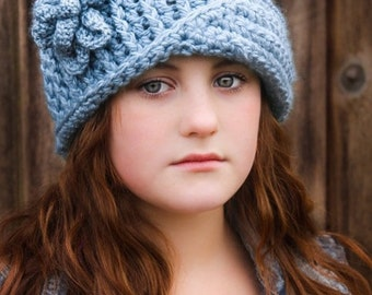 CROCHET HAT PATTERN: 'Vintage Twist Blossom' with Crochet Flower, Winter Fashion