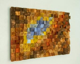 "Reclaimed wood wall art, Rustic wall art ""The Northern Lights"""