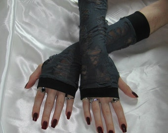 Gray Zombie ArmWarmers fingerless gloves steampunk Death geekary living walking dead undead corpse horror fetish postmortem medieval gore
