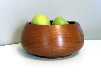 Teak Wood Serving Bowl / Kalmar Teak / Wood Fruit Bowl / Mid Century Modern / Minimalist Teak Wood / Danish Modern Wood Bowl