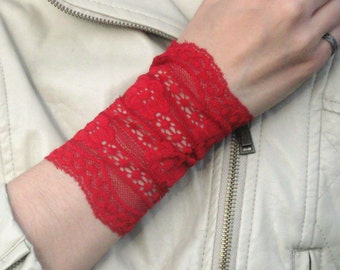 Lace Wrist Cuff, Wide Arm Band, Boho Bracelet, Red Wrist Cuff