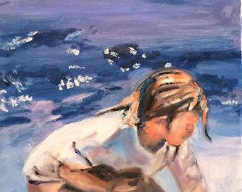 Beach Painting Oil Painting of Beach Scene Beach Girl in the Blue Water Original Oil Paintings by Marlene Kurland  10 x 20