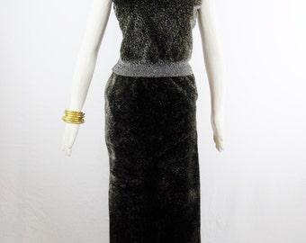 Vintage GAINFRANCO FERRE Faux FUR Skirt Set Very Kardashian Fashion Regal Unique Set Size Small