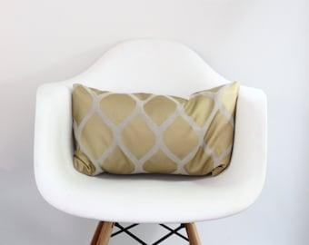 Aya lumbar pillow cover hand printed in metallic bronze on greige hemp