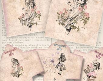 Alice in Wonderland Tea Bag Envelope Printable Paper Crafting Pink DIY digital download instant download digital collage sheet - VDTEAL1328
