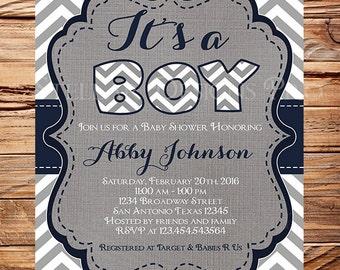 It's a BOY Baby Shower Invitation, Navy, Gray, Baby Shower Invitation, Navy, Chevron Stripes, navy, BOY, 1598